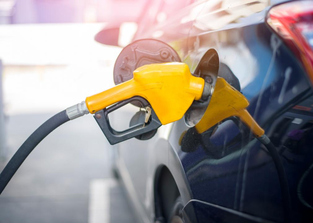 Photo of gas pumping into a car's gas tank